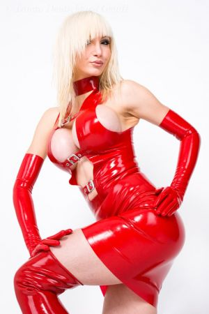 Latex Dress With Buckles And Zipper 3176