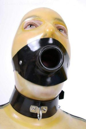 Latex Hollow Gag With Head Strap, Thick Latex