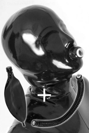 Hood With Pipe And Rebreather Bag, Thick Latex