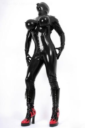 Latex Catsuit With Inflatable Breasts