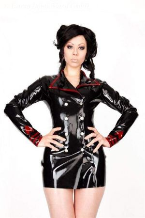 Latex Women's Jacket With Snap Fasteners, Thick Latex 3254