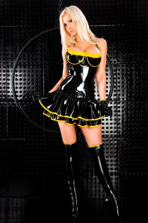 Latex Mini Dress With Double Flounce 3269