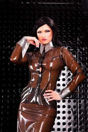 Latex Blouse With Long Sleeves, Thick Latex 3272