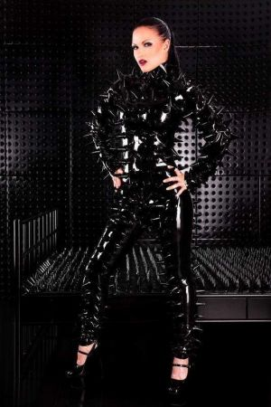 Latex Women's Catsuit With Spikes, Thick Latex 3283