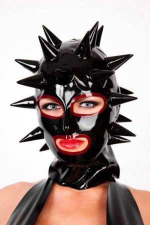 Latex Lady's Hood With Spikes, Thick Latex