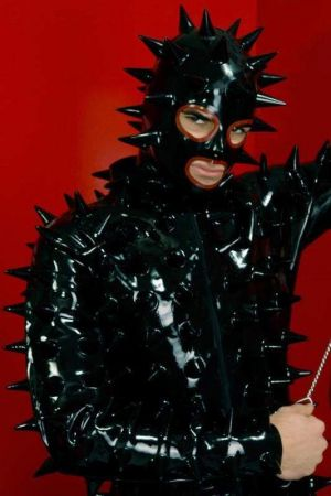 Latex Men's Catsuit With Spikes, Thick Latex