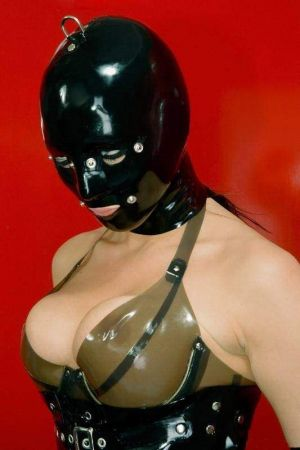 Latex Lady's Hood With Patches And D-Ring, Thick Latex