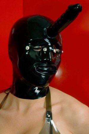 Latex Hood With Condom And Dildo, Thick Latex 3298