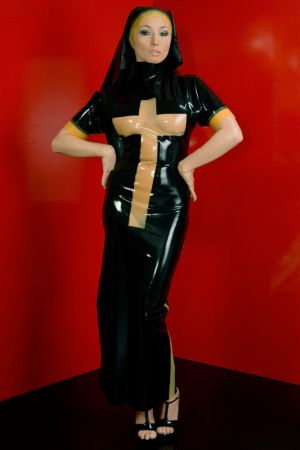 Latex Nun's Uniform With Large Cross 3299