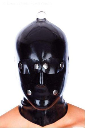 Latex Men's Hood With Patches And D-Ring, Thick Latex 3325