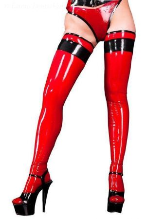 Latex Stockings With Trim 3334