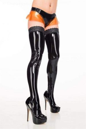 Latex Stockings With Lace 3412