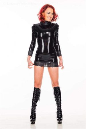 Latex Dress With Lace 3432