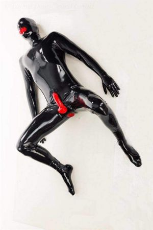 Latex Catsuit: Full-Body With 2 Internal Condoms And Penis Sheath 3466