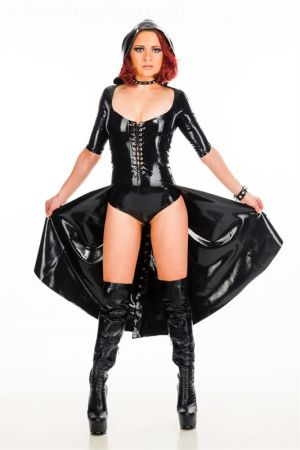 Latex Women's Coat With Detachable Hood